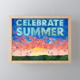 Celebrate Summer Sunrise Scene Watercolor Painting Framed Mini Art Print