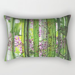 Painted Trails Of Green Floral Abstract Rectangular Pillow