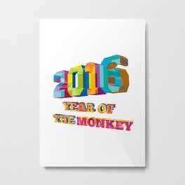 2016 Year of the Monkey Low Polygon Metal Print