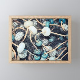 Mixed up fishnet with rope and lot of buoys Framed Mini Art Print