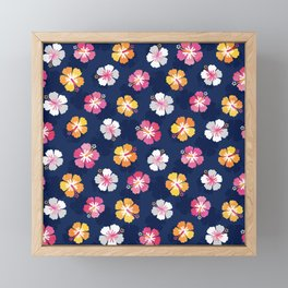 CANDY COLORED HIBISCUS on NAVY Framed Mini Art Print