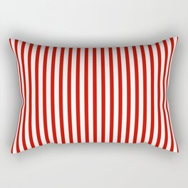 Red & White Maritime Vertical Small Stripes - Mix & Match with Simplicity of Life Rectangular Pillow