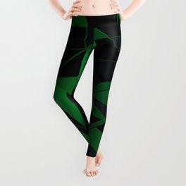 3D Futuristic Geometric Background (Green) Leggings
