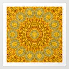 You Are My Sunshine II -- Sunflower Botanical Medallion, Mandala, Kaleidoscope Art Print