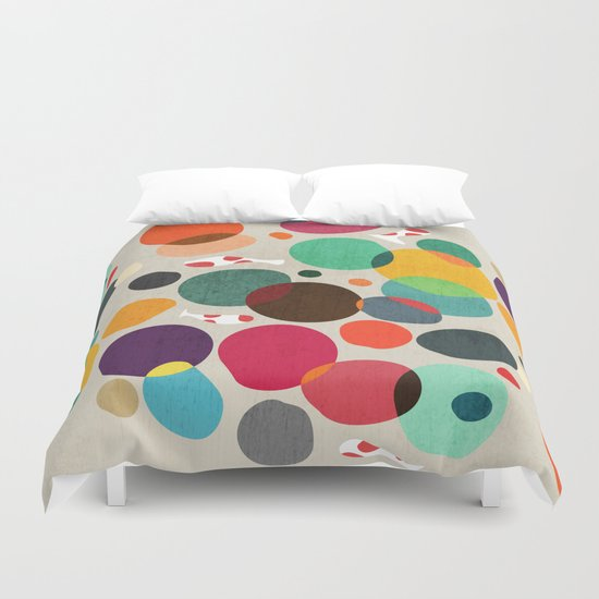 Lotus in koi pond Duvet Cover