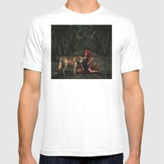Red Riding Hood MEDIUM White Mens Fitted Tee