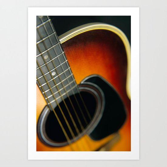 Guitar - Acoustic close up Art Print
