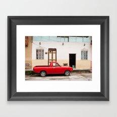 Ecuadorian red car Framed Art Print