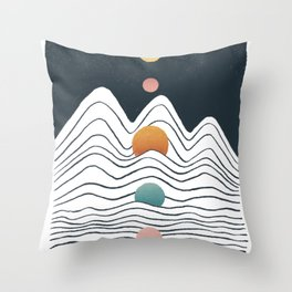 Planet Earth and Solar line Throw Pillow