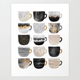 Pretty Coffe Cups 3 - White Art Print