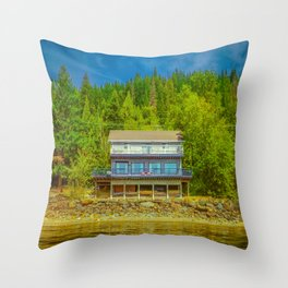 Squilax Cabin Throw Pillow