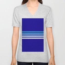 Retro Stripes on Blue Unisex V-Neck