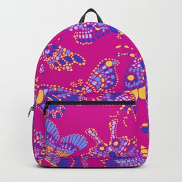 Butterfly Pattern Blue Pink Backpack