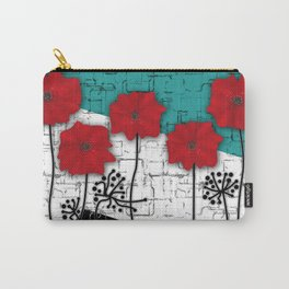 Applique. Poppies on turquoise black white background . Carry-All Pouch