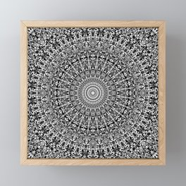 Grey Geometric Floral Mandala Framed Mini Art Print