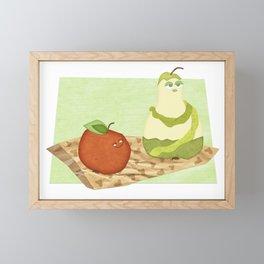 apple & pear in love couple fruit gift Framed Mini Art Print