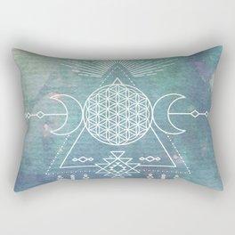 Mandala Flower of Life in Turquoise Stars Rectangular Pillow