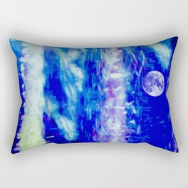 winter moon abstract digital painting Rectangular Pillow