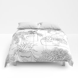 Illustrated Plant Faces in White Comforters