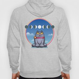 Cat looking at the moon Hoody