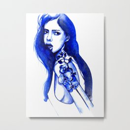 Flower tattoos: Blue orhid Metal Print