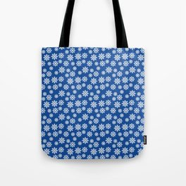 Christmas / Winter White Snowflakes Pattern Blue Tote Bag