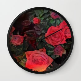Forever red roses Wall Clock
