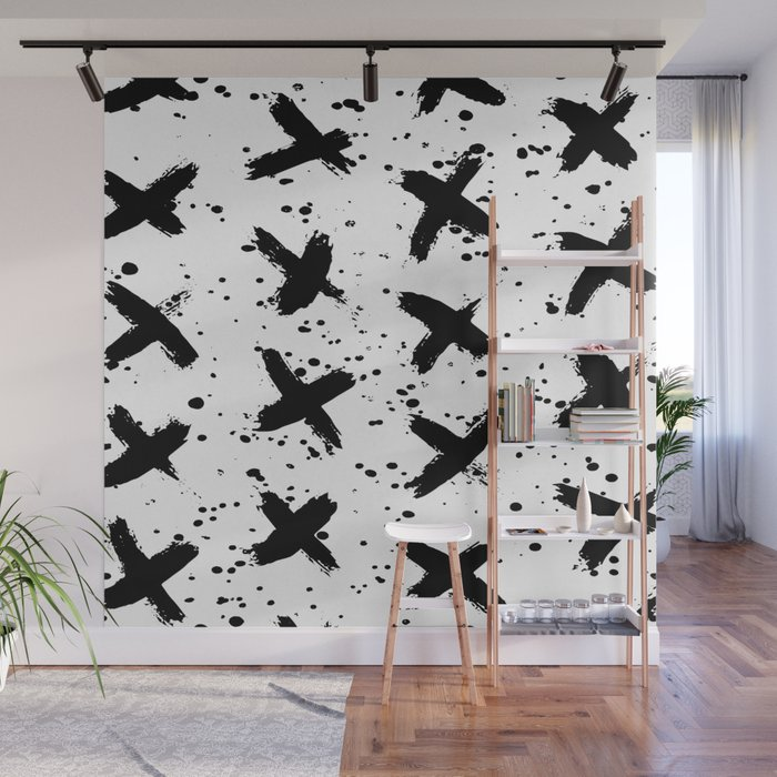 X Paint Spatter Black and White Wall Mural