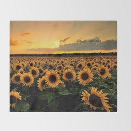 Sunflower field Throw Blanket