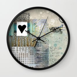 Blue & Grey Heart Abstract Art Collage Wall Clock