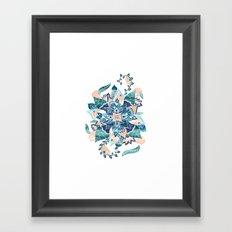 Modern coral blue watercolor floral illustration  Framed Art Print