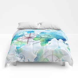 Watercolor map Comforters