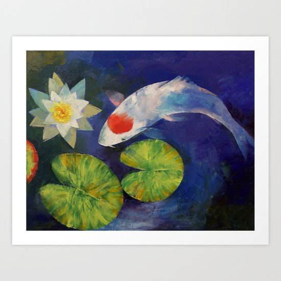 Tancho Koi and Water Lily Art Print