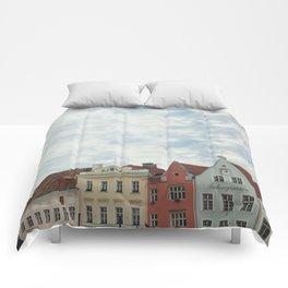 Pastel Houses Comforters
