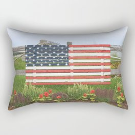 American Flag Rustic Rectangular Pillow
