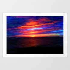 Sunset by the sea - Painting Style Art Print