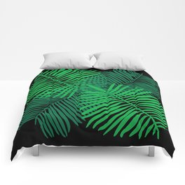 Modern Tropical Palm Leaves Painting black background Comforters