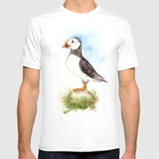 Puffin on a Rock MEDIUM Mens Fitted Tee White