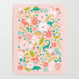 Dinosaurs + Unicorns in Pink + Teal Poster