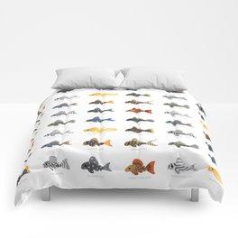 Pleco! - white Comforters