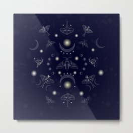 Moonlit Moths Metal Print
