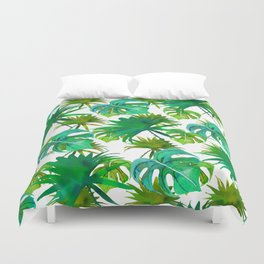 Abstract hand painted forest green watercolor tropical leaves Duvet Cover