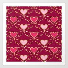 Golden Wings of Love (pattern) wine Art Print