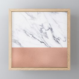 Marble Rose Gold Luxury iPhone Case and Throw Pillow Design Framed Mini Art Print