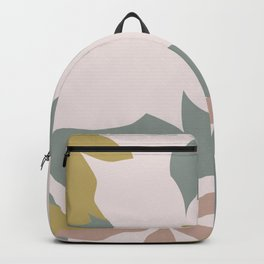 Leafy Floral Collage on Pale Pink Backpack