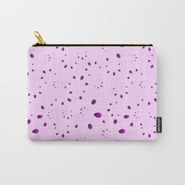A lot of purple drops and petals on a pink background in mother of pearl. Carry-All Pouch