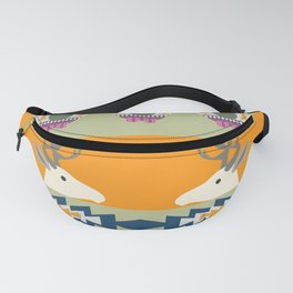 Colorful Christmas pattern with deer and bears Fanny Pack