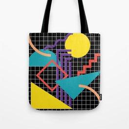 Memphis Pattern - 80s Retro Black Tote Bag