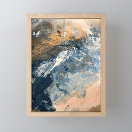 Wander [3]: a vibrant, colorful abstract in blues, pink, white, and gold Framed Mini Art Print
