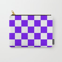 Checkered - White and Indigo Violet Carry-All Pouch